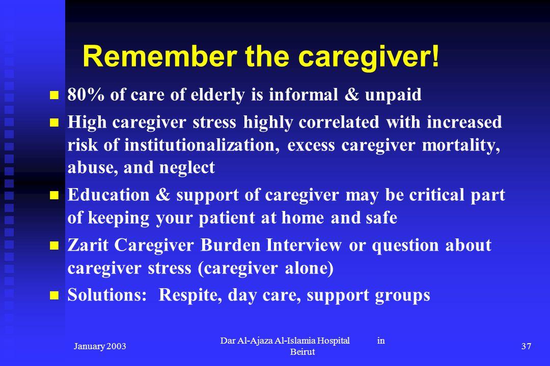 January 2003 Dar Al-Ajaza Al-Islamia Hospital in Beirut 37 Remember the caregiver! 80% of care of elderly is informal & unpaid High caregiver stress h
