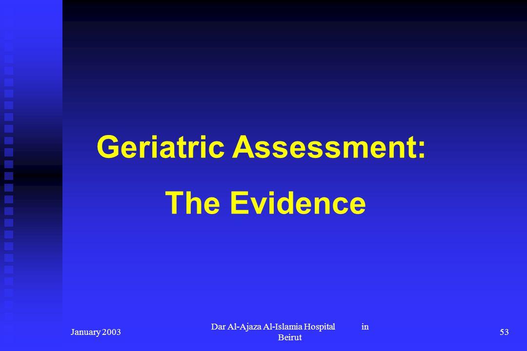January 2003 Dar Al-Ajaza Al-Islamia Hospital in Beirut 53 Geriatric Assessment: The Evidence