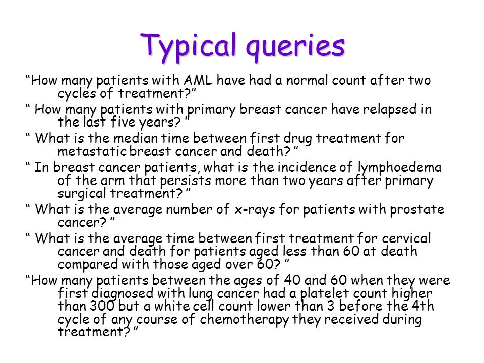 Typical queries How many patients with AML have had a normal count after two cycles of treatment.