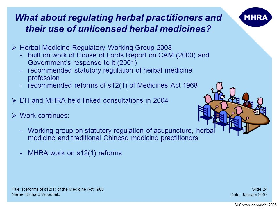 Slide 24 Date: January 2007 Name: Richard Woodfield Title: Reforms of s12(1) of the Medicine Act 1968 © Crown copyright 2005 What about regulating her
