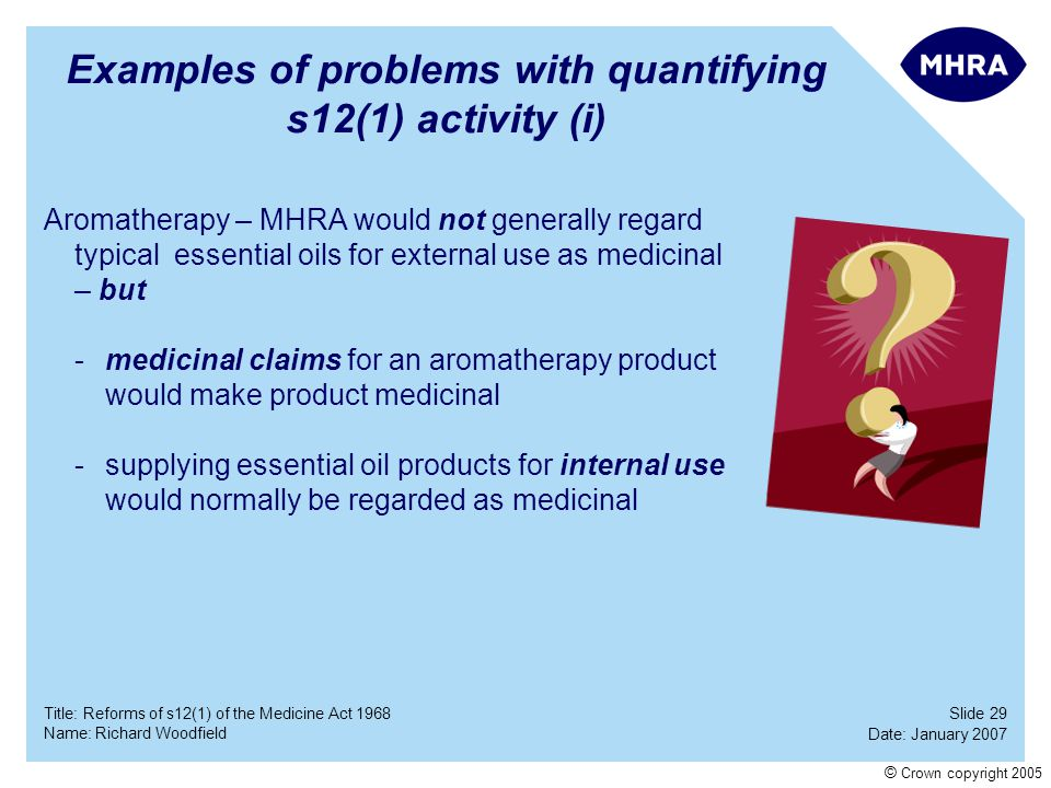 Slide 29 Date: January 2007 Name: Richard Woodfield Title: Reforms of s12(1) of the Medicine Act 1968 © Crown copyright 2005 Examples of problems with
