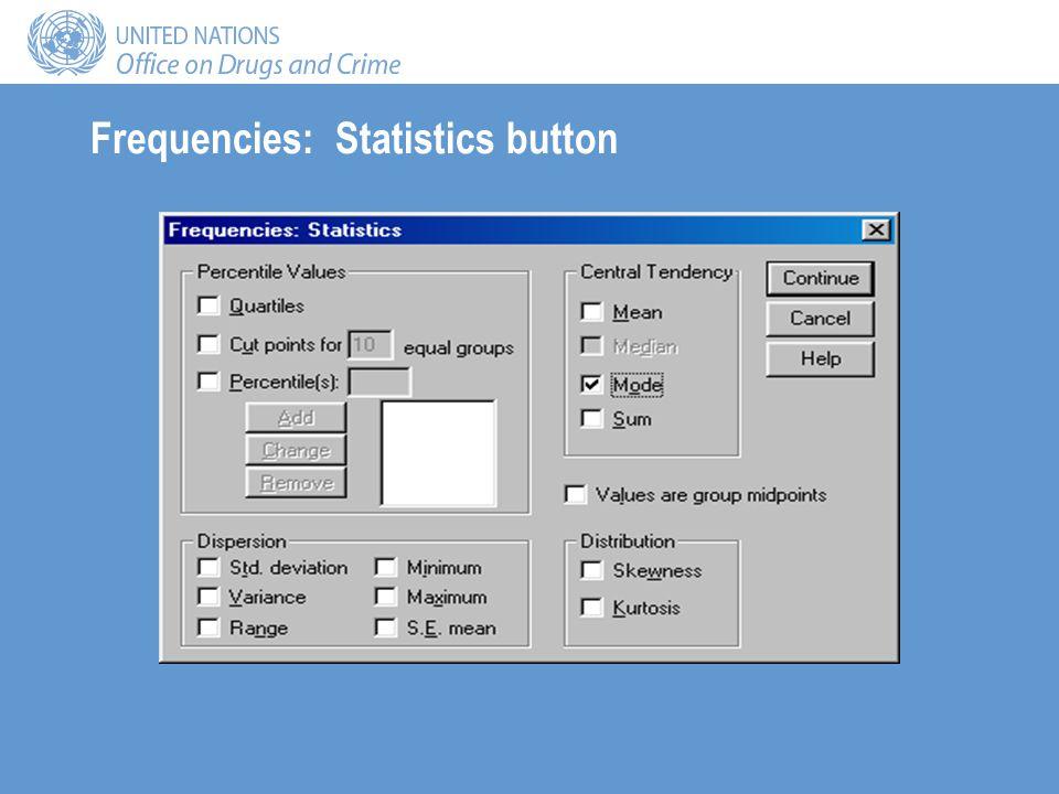 Frequencies: Statistics button