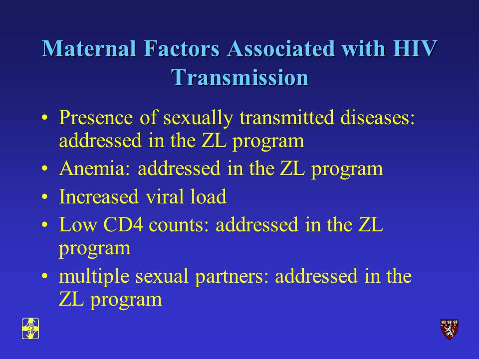 Maternal Factors Associated with HIV Transmission Presence of sexually transmitted diseases: addressed in the ZL program Anemia: addressed in the ZL program Increased viral load Low CD4 counts: addressed in the ZL program multiple sexual partners: addressed in the ZL program