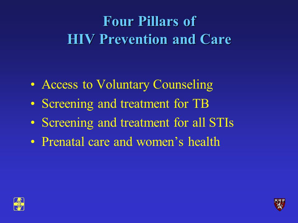Four Pillars of HIV Prevention and Care Access to Voluntary Counseling Screening and treatment for TB Screening and treatment for all STIs Prenatal care and womens health