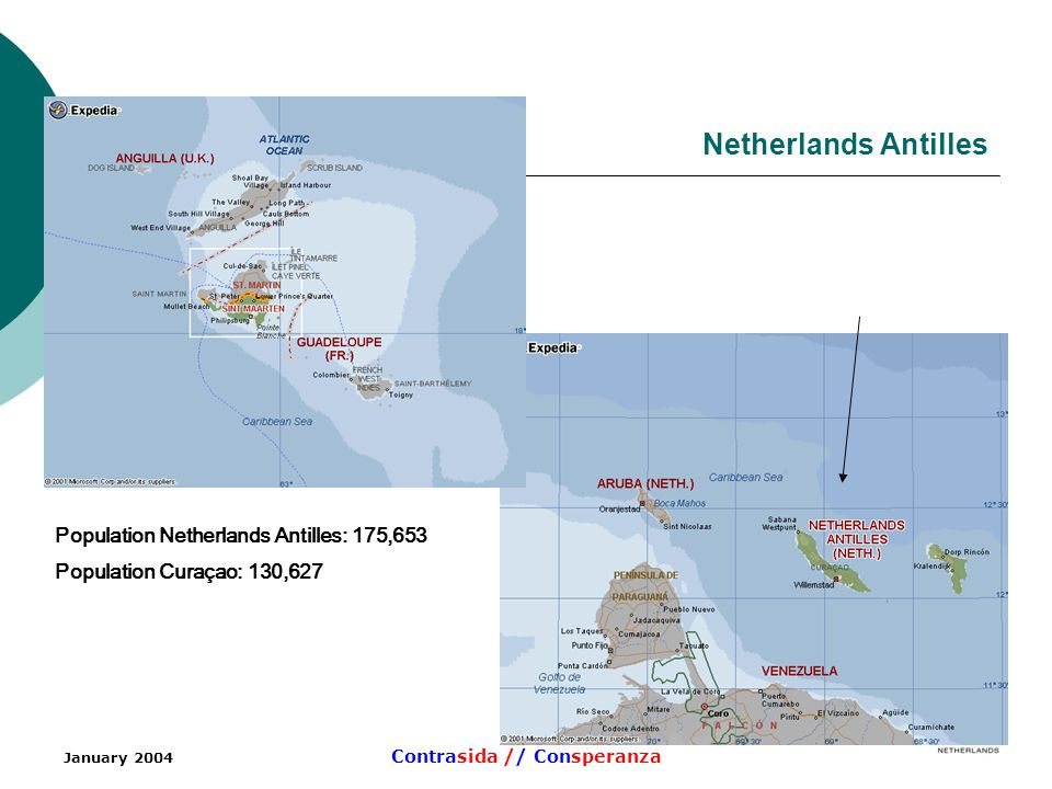 January 2004 Contrasida // Consperanza Netherlands Antilles Population Netherlands Antilles: 175,653 Population Curaçao: 130,627