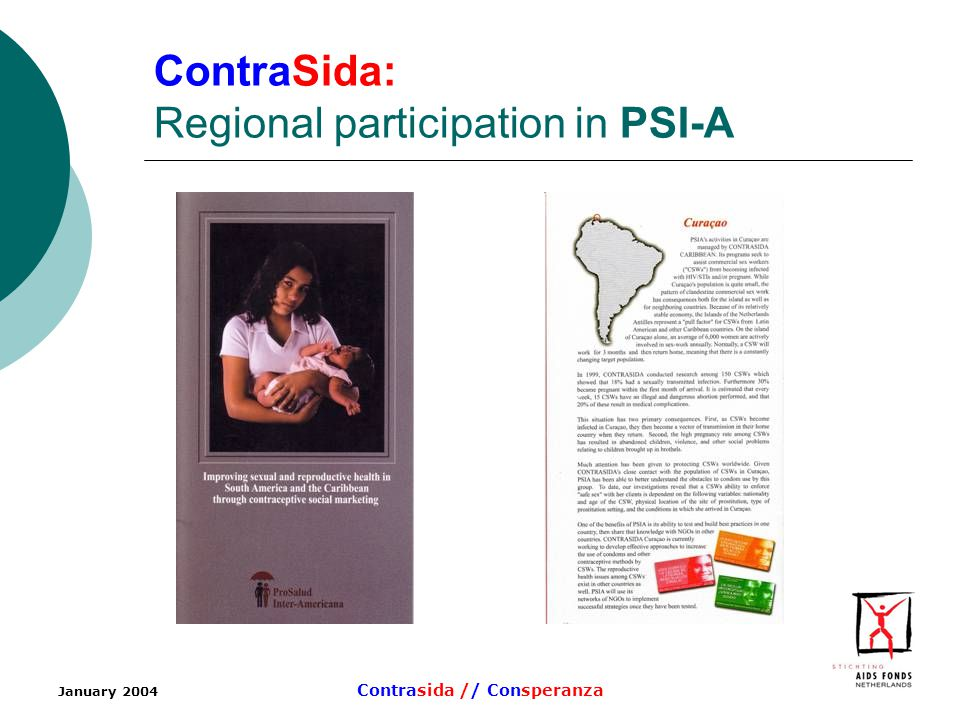 January 2004 Contrasida // Consperanza ContraSida: Regional participation in PSI-A
