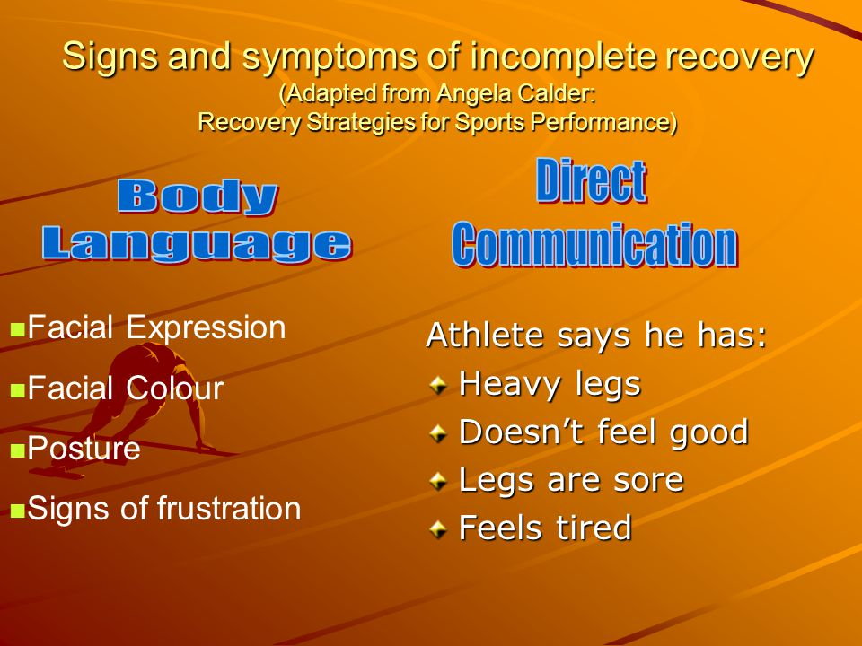 Signs and symptoms of incomplete recovery (Adapted from Angela Calder: Recovery Strategies for Sports Performance) Athlete says he has: Heavy legs Doe