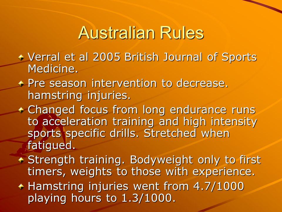 Australian Rules Verral et al 2005 British Journal of Sports Medicine. Pre season intervention to decrease. hamstring injuries. Changed focus from lon