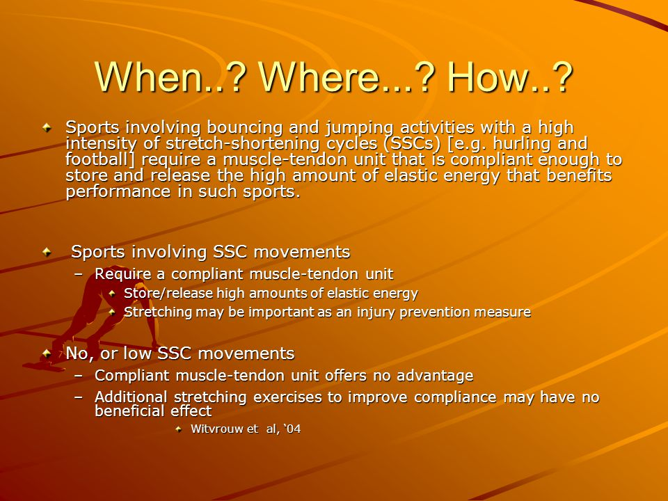 When..? Where...? How..? Sports involving bouncing and jumping activities with a high intensity of stretch-shortening cycles (SSCs) [e.g. hurling and