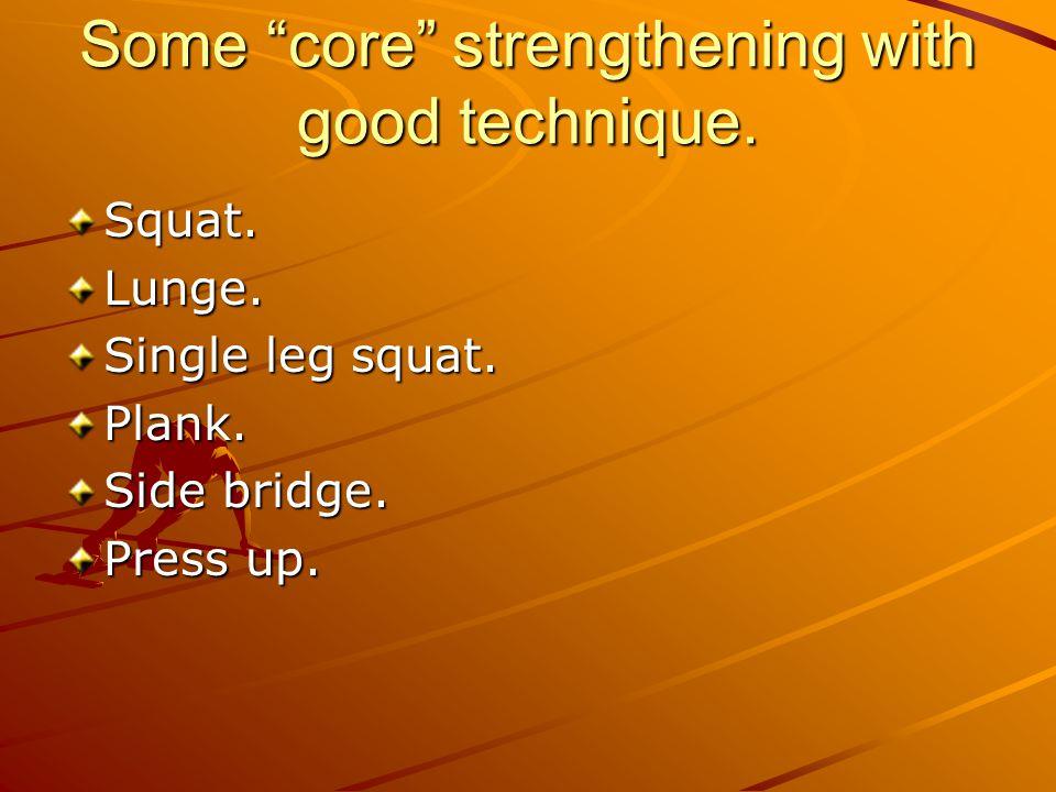 Some core strengthening with good technique. Squat.Lunge. Single leg squat. Plank. Side bridge. Press up.