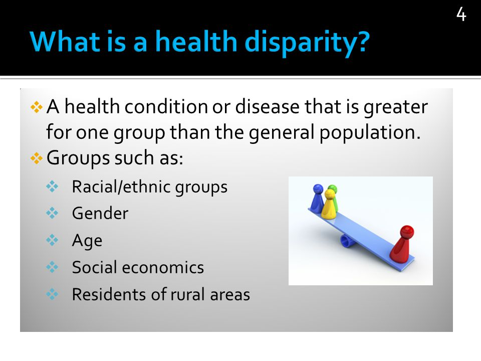 A health condition or disease that is greater for one group than the general population. Groups such as: Racial/ethnic groups Gender Age Social econom