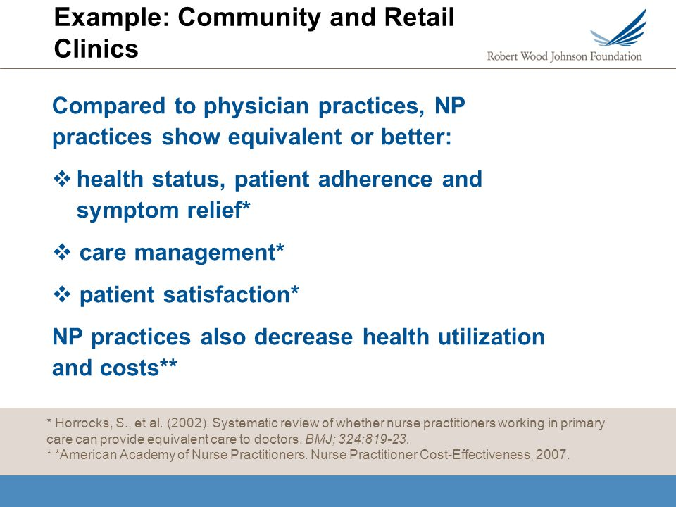 Example: Community and Retail Clinics Compared to physician practices, NP practices show equivalent or better: health status, patient adherence and sy