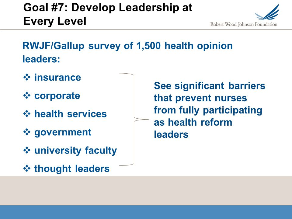 Goal #7: Develop Leadership at Every Level RWJF/Gallup survey of 1,500 health opinion leaders: insurance corporate health services government university faculty thought leaders See significant barriers that prevent nurses from fully participating as health reform leaders