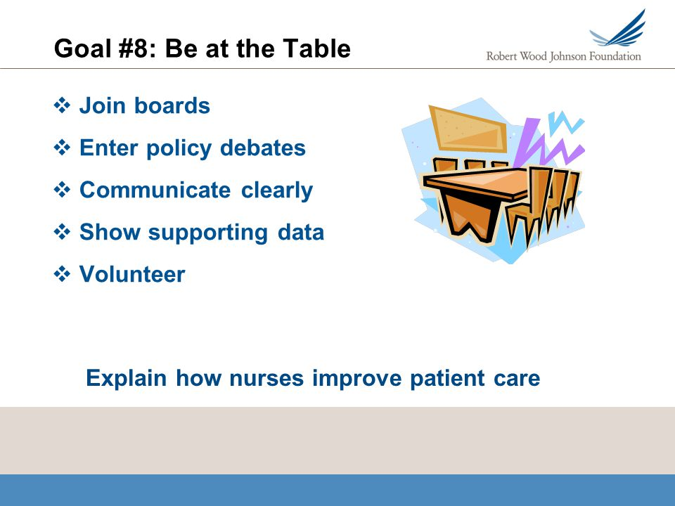 Goal #8: Be at the Table Join boards Enter policy debates Communicate clearly Show supporting data Volunteer Explain how nurses improve patient care