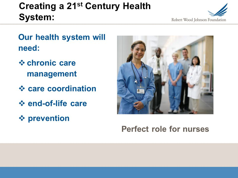 Creating a 21 st Century Health System: Our health system will need: chronic care management care coordination end-of-life care prevention Perfect role for nurses
