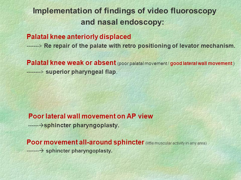 Implementation of findings of video fluoroscopy and nasal endoscopy: Palatal knee anteriorly displaced -------> Re repair of the palate with retro positioning of levator mechanism.