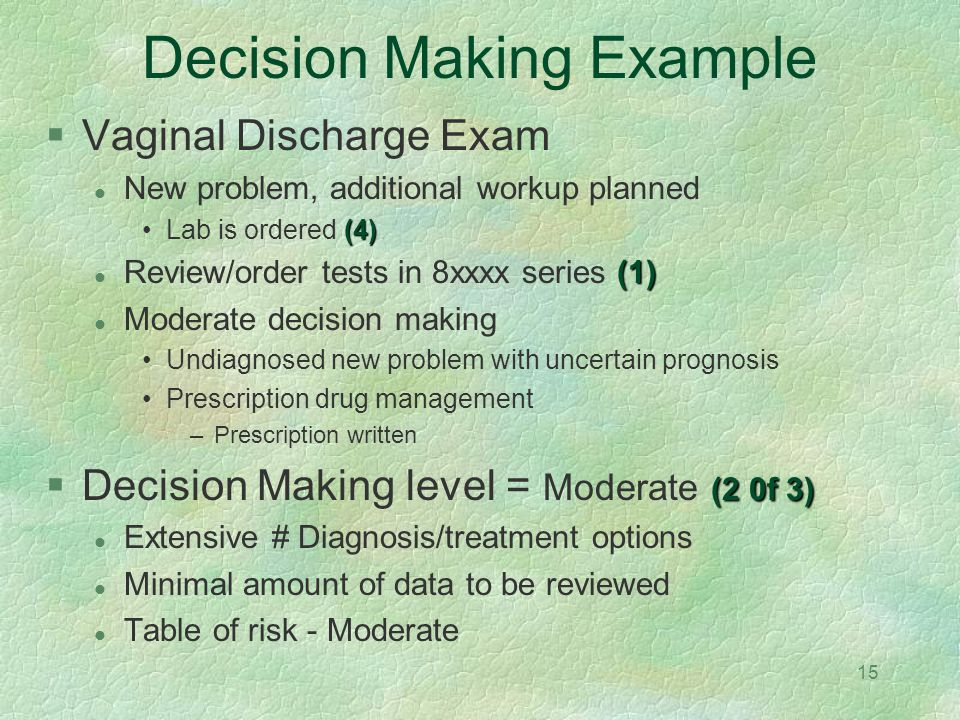15 Decision Making Example Vaginal Discharge Exam New problem, additional workup planned (4)Lab is ordered (4) (1) Review/order tests in 8xxxx series