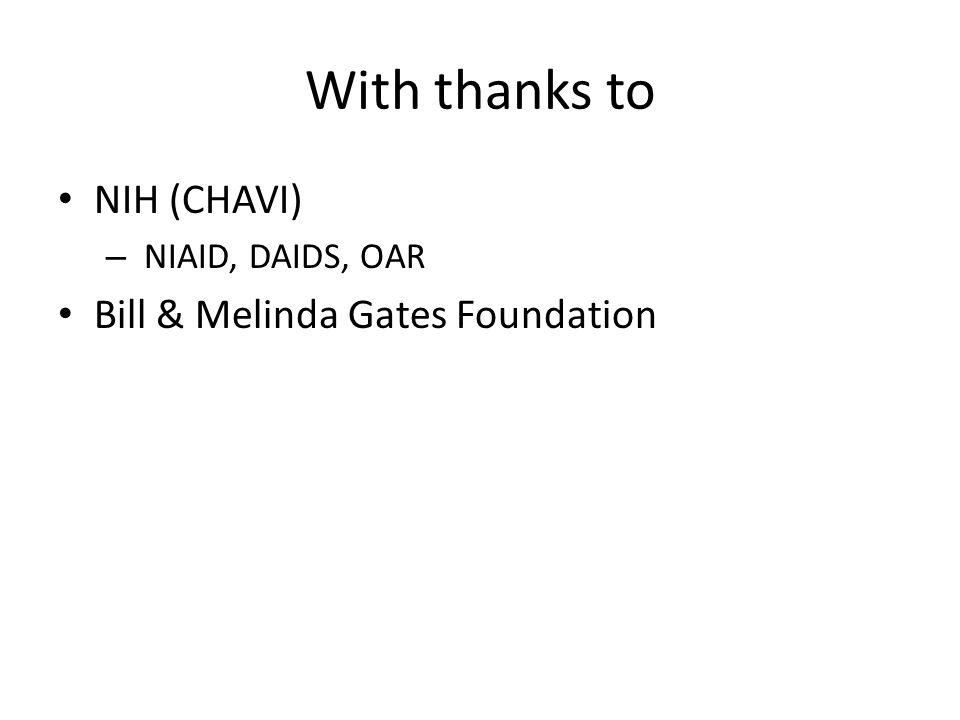 With thanks to NIH (CHAVI) – NIAID, DAIDS, OAR Bill & Melinda Gates Foundation