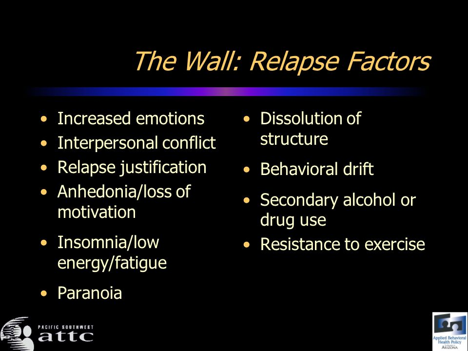 The Wall: Relapse Factors Increased emotions Interpersonal conflict Relapse justification Anhedonia/loss of motivation Insomnia/low energy/fatigue Paranoia Dissolution of structure Behavioral drift Secondary alcohol or drug use Resistance to exercise