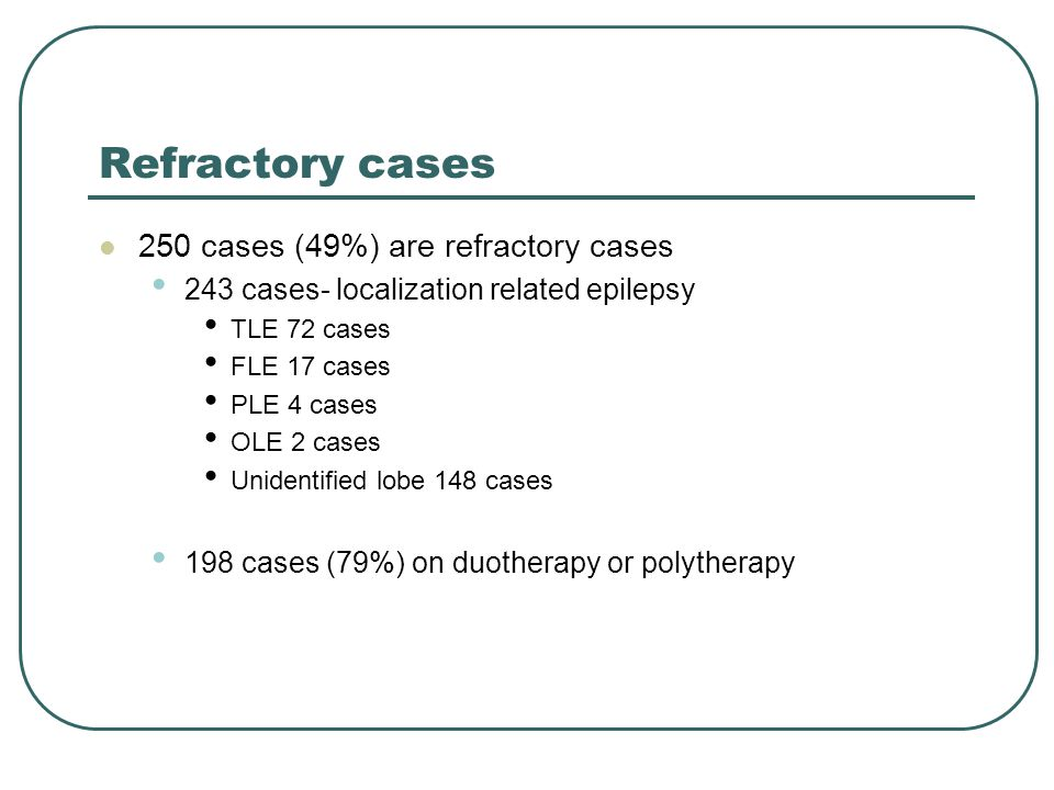 Refractory cases 250 cases (49%) are refractory cases 243 cases- localization related epilepsy TLE 72 cases FLE 17 cases PLE 4 cases OLE 2 cases Unidentified lobe 148 cases 198 cases (79%) on duotherapy or polytherapy