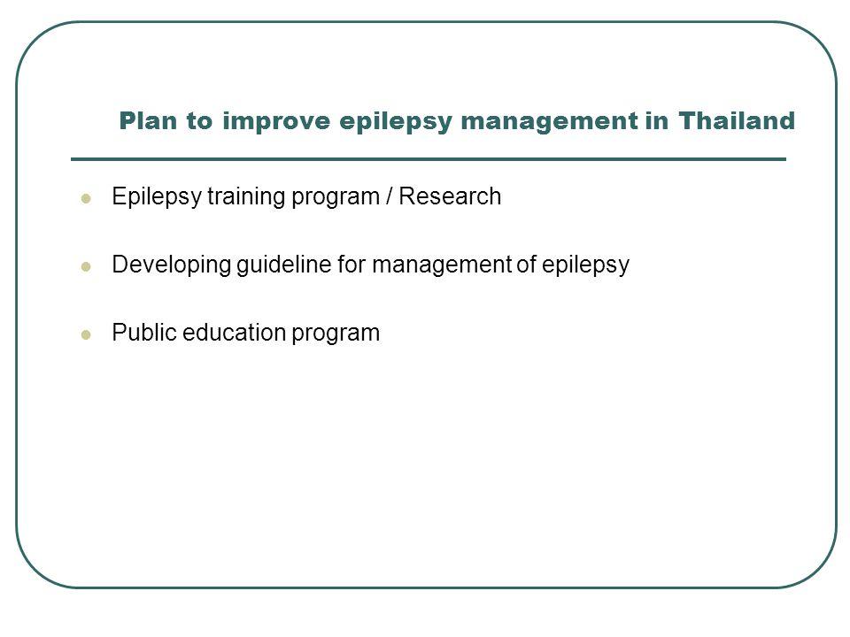 Plan to improve epilepsy management in Thailand Epilepsy training program / Research Developing guideline for management of epilepsy Public education program