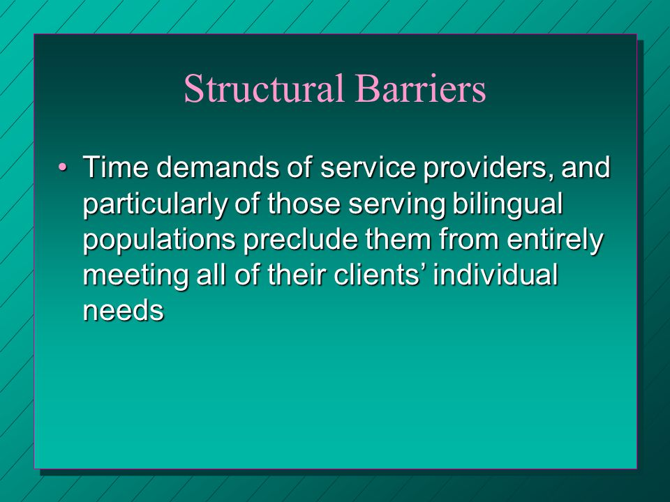 Structural Barriers Time demands of service providers, and particularly of those serving bilingual populations preclude them from entirely meeting all of their clients individual needsTime demands of service providers, and particularly of those serving bilingual populations preclude them from entirely meeting all of their clients individual needs