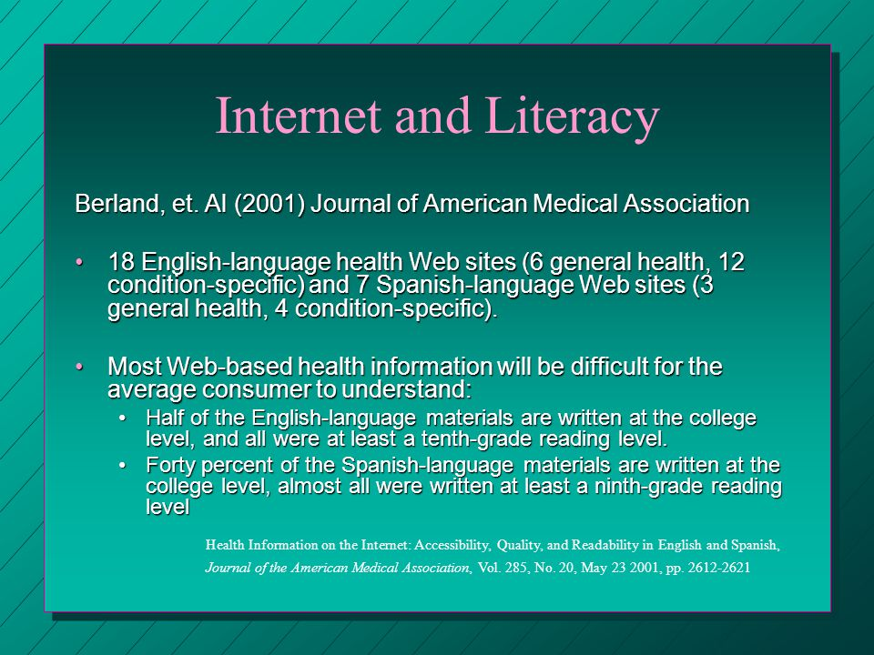 Internet and Literacy Berland, et.