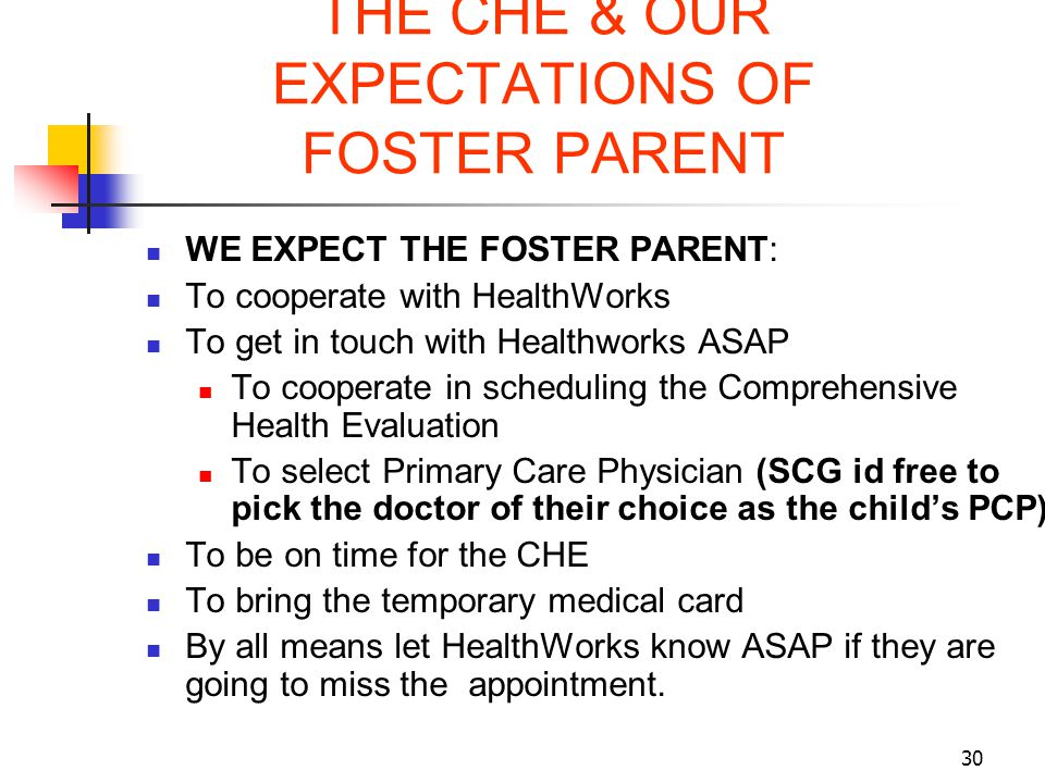 30 THE CHE & OUR EXPECTATIONS OF FOSTER PARENT WE EXPECT THE FOSTER PARENT: To cooperate with HealthWorks To get in touch with Healthworks ASAP To coo