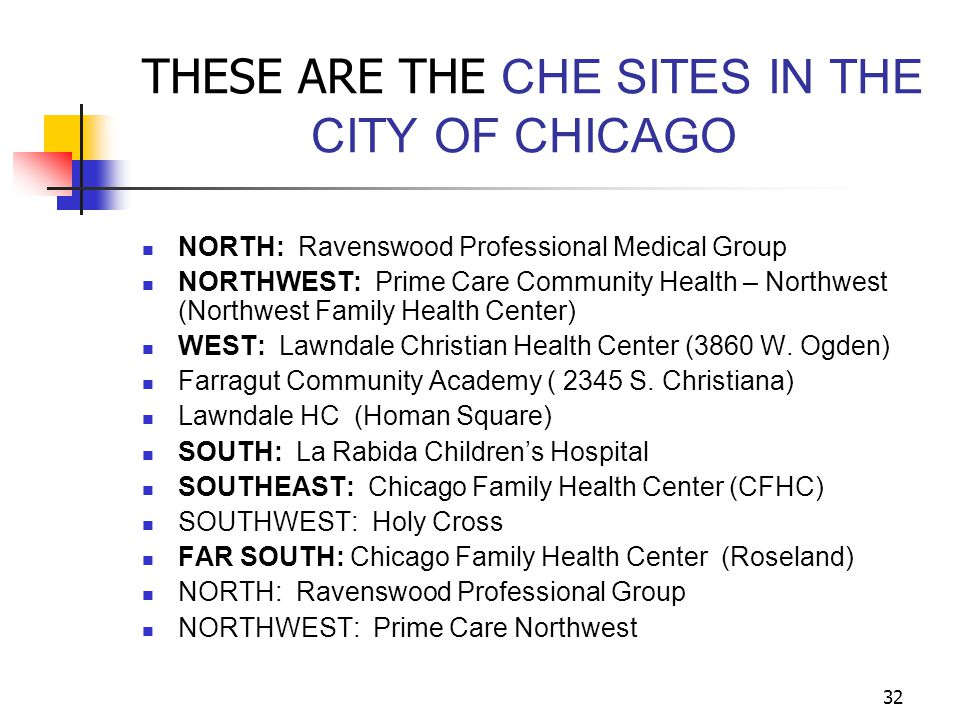 32 THESE ARE THE CHE SITES IN THE CITY OF CHICAGO NORTH: Ravenswood Professional Medical Group NORTHWEST: Prime Care Community Health – Northwest (Nor