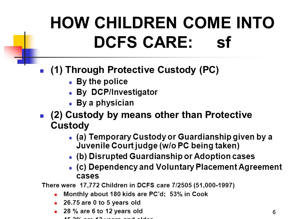6 HOW CHILDREN COME INTO DCFS CARE: sf (1) Through Protective Custody (PC) By the police By DCP/Investigator By a physician (2) Custody by means other