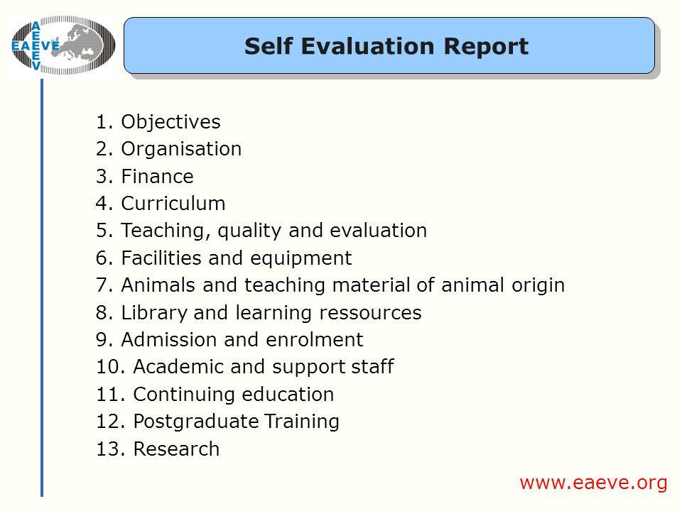 Self Evaluation Report 1.Objectives 2.Organisation 3.Finance 4.Curriculum 5.