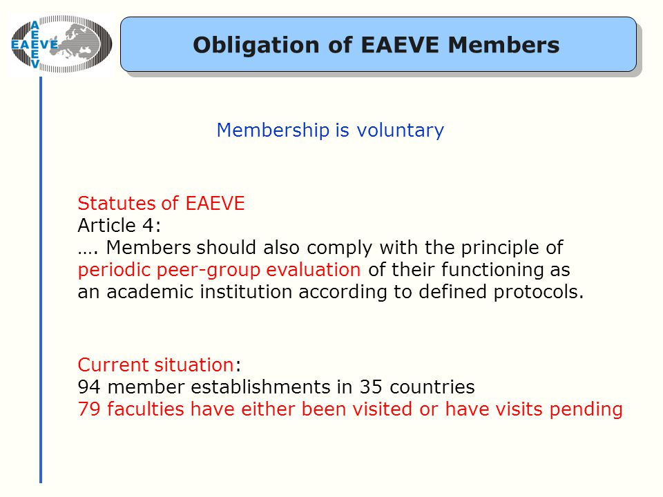 The EC-Directive 2005/36 Directive of the European Parliament and of the Council on the recognition of professional qualifications Defines minimum requirements for veterinary training This is the basis of the European System of Evaluation of Veterinary Training managed by EAEVE together with FVE