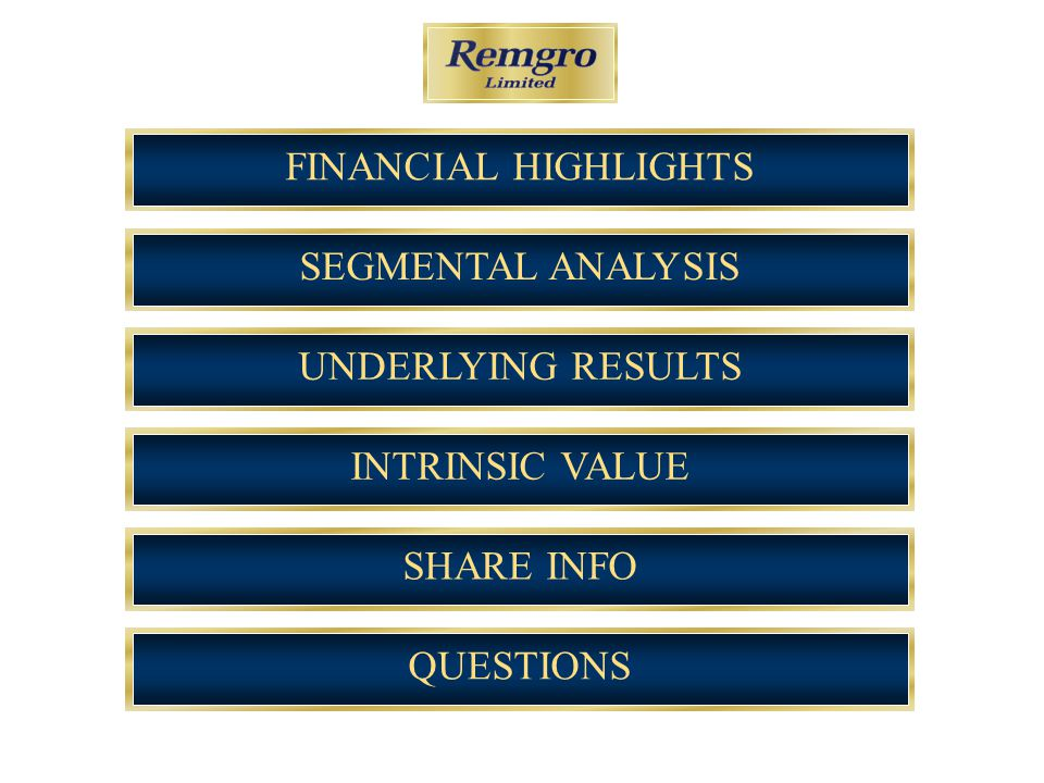 SEGMENTAL ANALYSISUNDERLYING RESULTSINTRINSIC VALUESHARE INFOQUESTIONSFINANCIAL HIGHLIGHTS