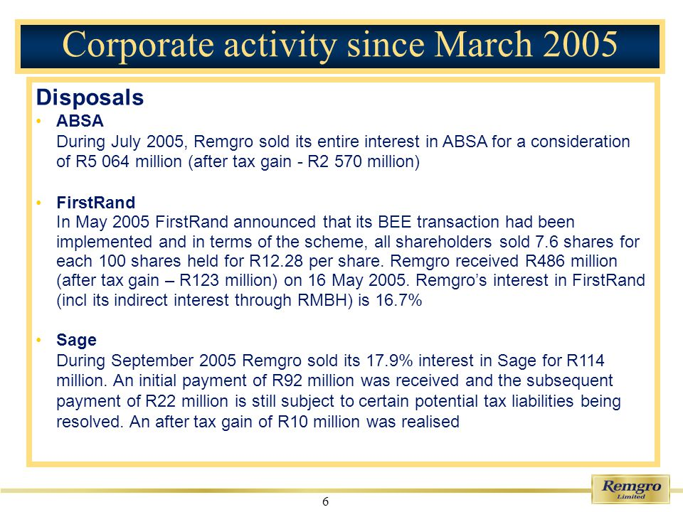 7 Corporate activity since March 2005 Acquisitions Share repurchases Remgro repurchased 5 187 563 shares (1.1% of Remgros issued share capital) at an average price of R110.46 per share for a total amount of R573.0 million during the six months ended 30 September 2005.