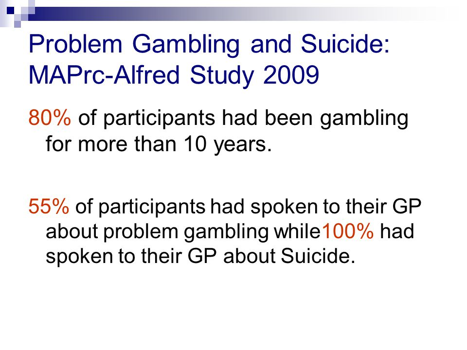 Co-morbidity and pathological gambling: Epidemiological data 43,093 US adults participated in face to face interviews in the 2001-2002 survey.