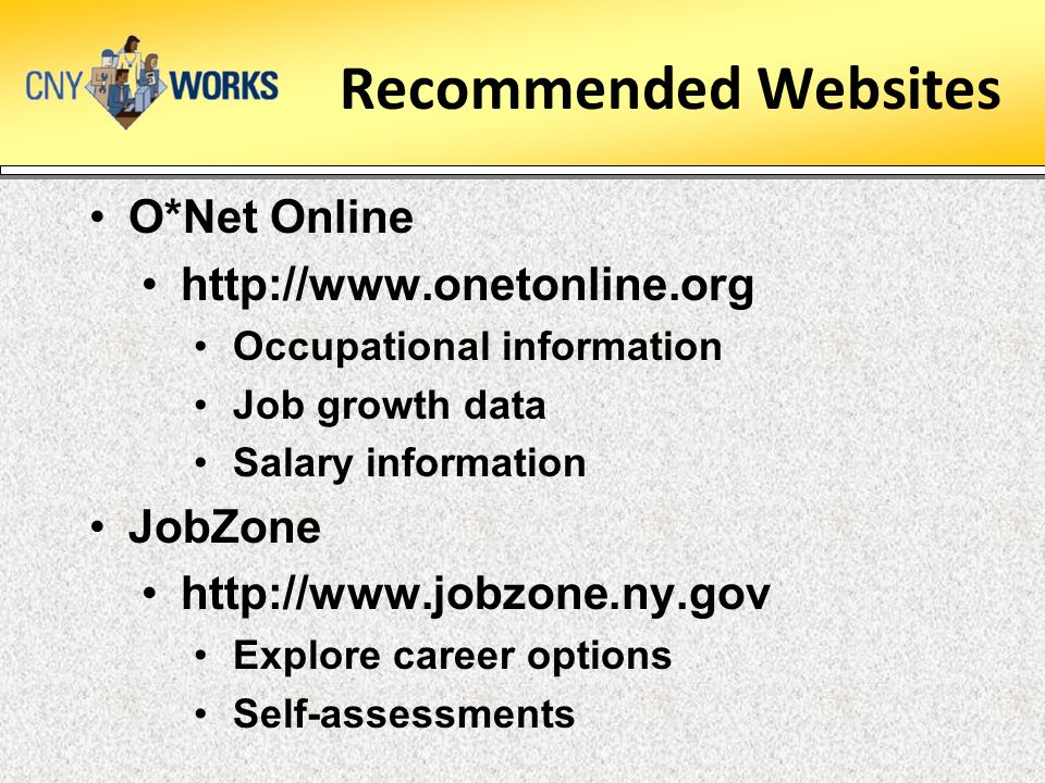 Recommended Websites O*Net Online http://www.onetonline.org Occupational information Job growth data Salary information JobZone http://www.jobzone.ny.gov Explore career options Self-assessments