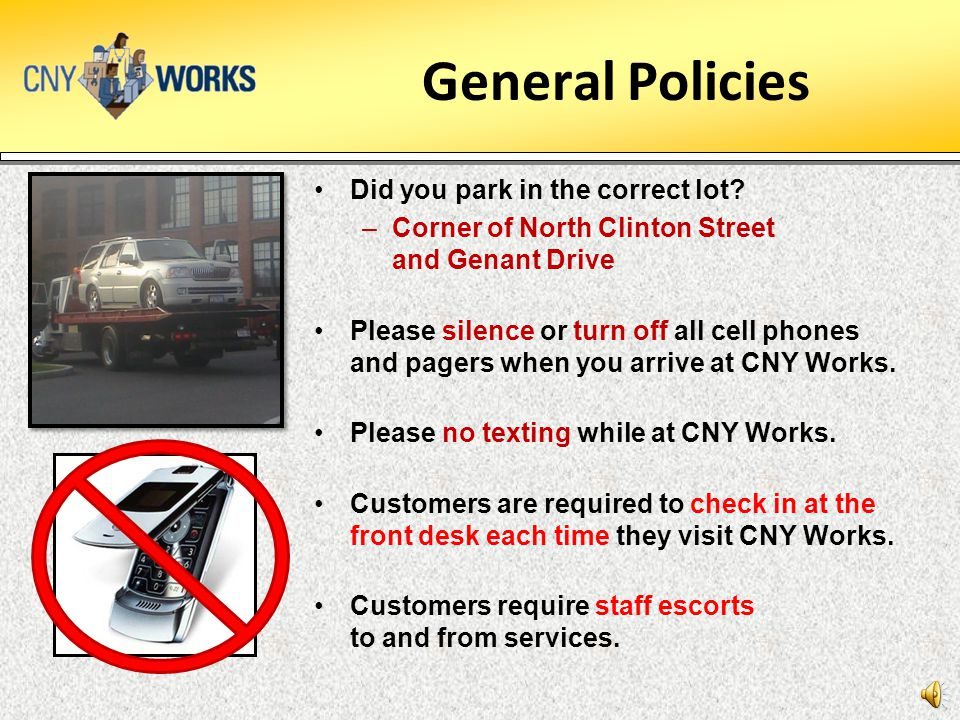 General Policies Did you park in the correct lot.