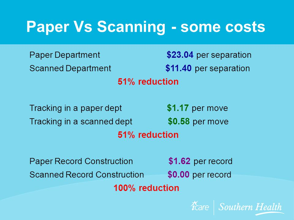 Paper Vs Scanning - some costs Paper Department $23.04 per separation Scanned Department $11.40 per separation 51% reduction Tracking in a paper dept $1.17 per move Tracking in a scanned dept $0.58 per move 51% reduction Paper Record Construction $1.62 per record Scanned Record Construction $0.00 per record 100% reduction