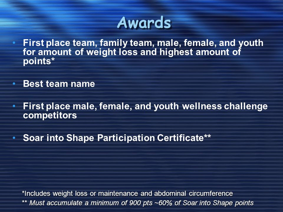 Awards First place team, family team, male, female, and youth for amount of weight loss and highest amount of points* Best team name First place male, female, and youth wellness challenge competitors Soar into Shape Participation Certificate** *Includes weight loss or maintenance and abdominal circumference ** Must accumulate a minimum of 900 pts ~60% of Soar into Shape points