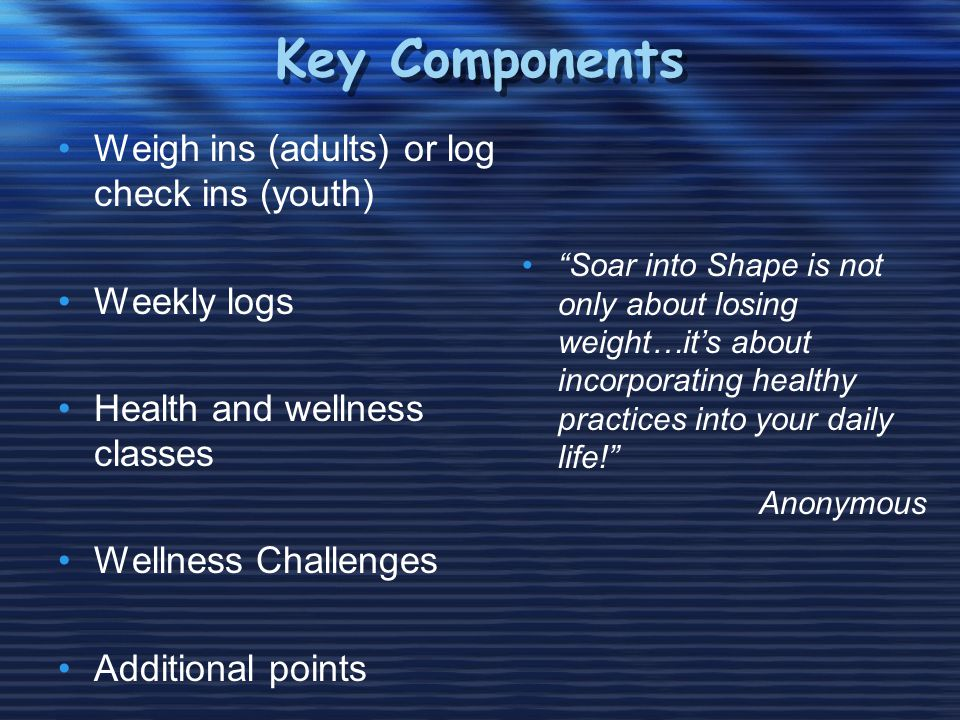 Key Components Weigh ins (adults) or log check ins (youth) Weekly logs Health and wellness classes Wellness Challenges Additional points Soar into Shape is not only about losing weight…its about incorporating healthy practices into your daily life.