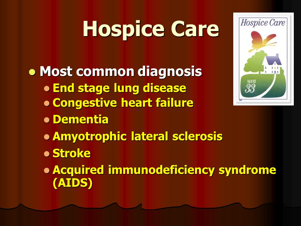 Hospice Care Most common diagnosis Most common diagnosis End stage lung disease End stage lung disease Congestive heart failure Congestive heart failure Dementia Dementia Amyotrophic lateral sclerosis Amyotrophic lateral sclerosis Stroke Stroke Acquired immunodeficiency syndrome (AIDS) Acquired immunodeficiency syndrome (AIDS)