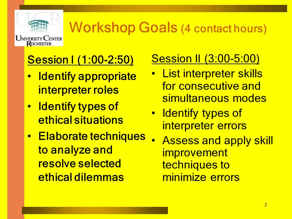 3 Workshop Goals (4 contact hours) Session I (1:00-2:50) Identify appropriate interpreter roles Identify types of ethical situations Elaborate techniques to analyze and resolve selected ethical dilemmas Session II (3:00-5:00) List interpreter skills for consecutive and simultaneous modes Identify types of interpreter errors Assess and apply skill improvement techniques to minimize errors