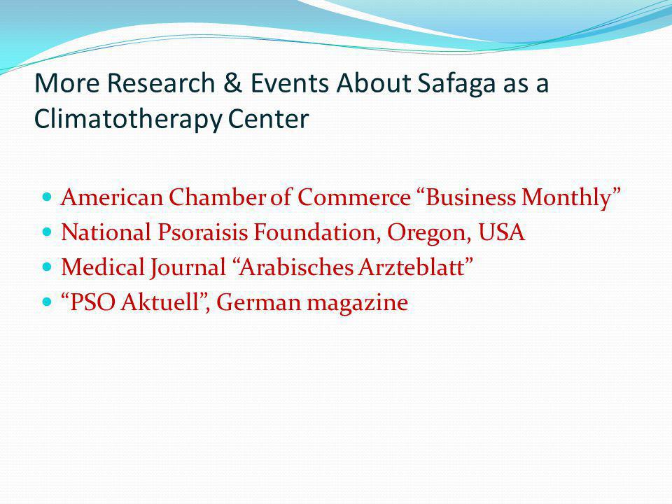 More Research & Events About Safaga as a Climatotherapy Center American Chamber of Commerce Business Monthly National Psoraisis Foundation, Oregon, US
