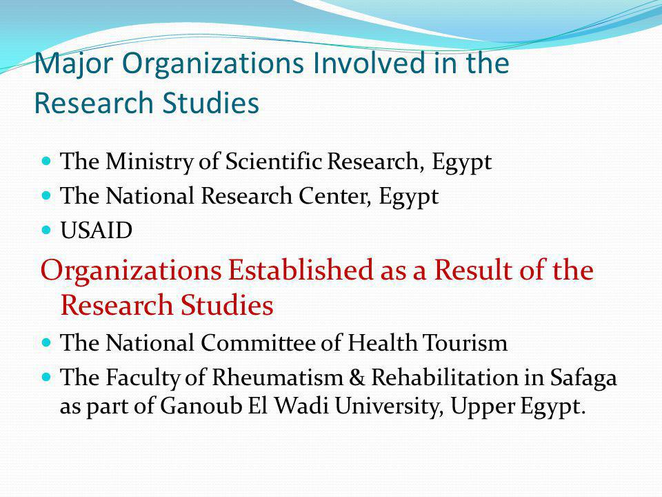 Major Organizations Involved in the Research Studies The Ministry of Scientific Research, Egypt The National Research Center, Egypt USAID Organization