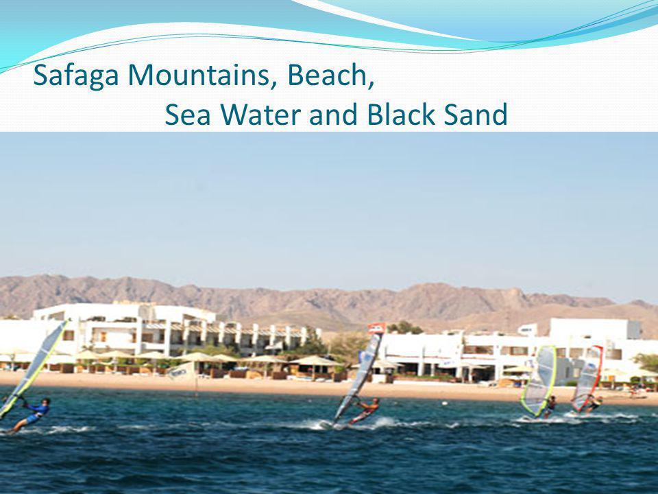 Safaga Mountains, Beach, Sea Water and Black Sand