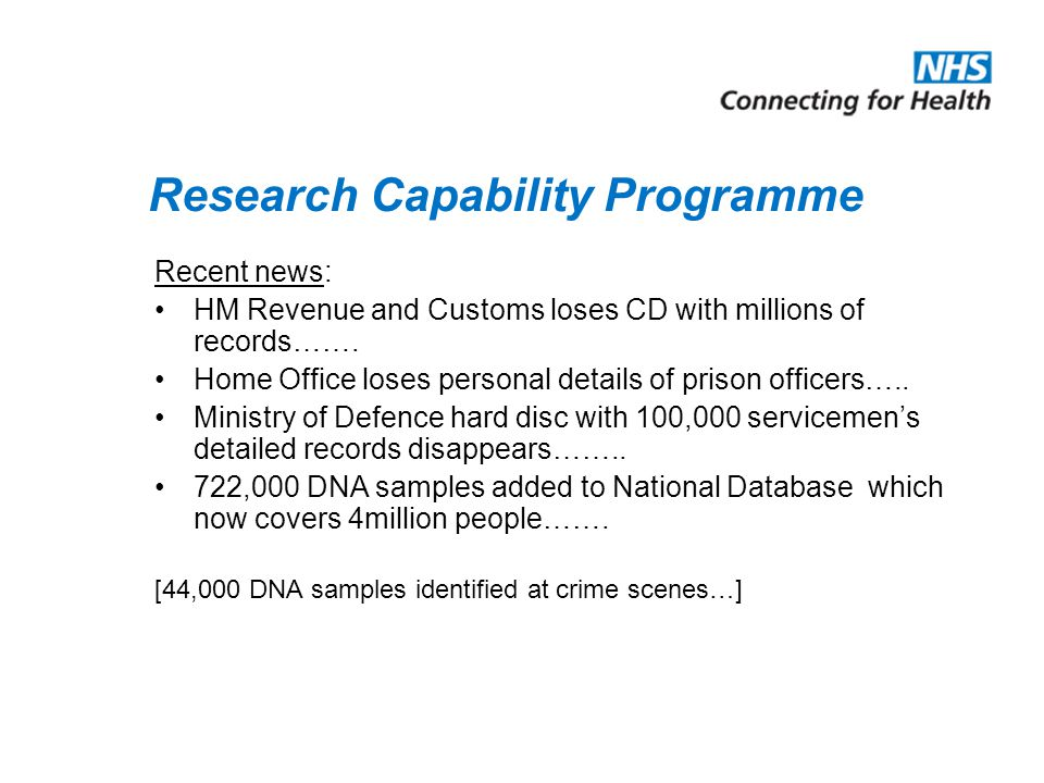 Recent news: HM Revenue and Customs loses CD with millions of records……. Home Office loses personal details of prison officers….. Ministry of Defence