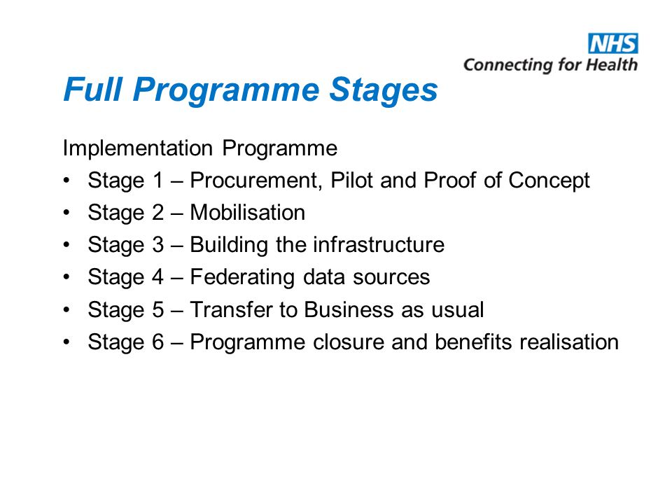 Full Programme Stages Implementation Programme Stage 1 – Procurement, Pilot and Proof of Concept Stage 2 – Mobilisation Stage 3 – Building the infrastructure Stage 4 – Federating data sources Stage 5 – Transfer to Business as usual Stage 6 – Programme closure and benefits realisation