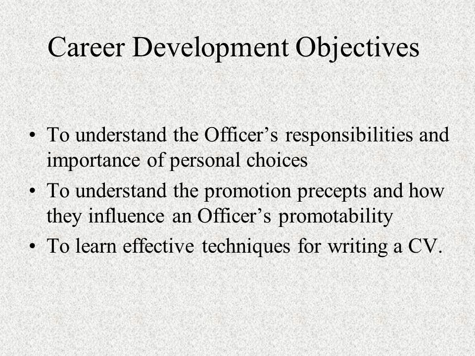 Officer Responsibilities Plan ahead Make yourself valuable Know the 6 promotion precepts Submit an effective COER Have a well-written CV