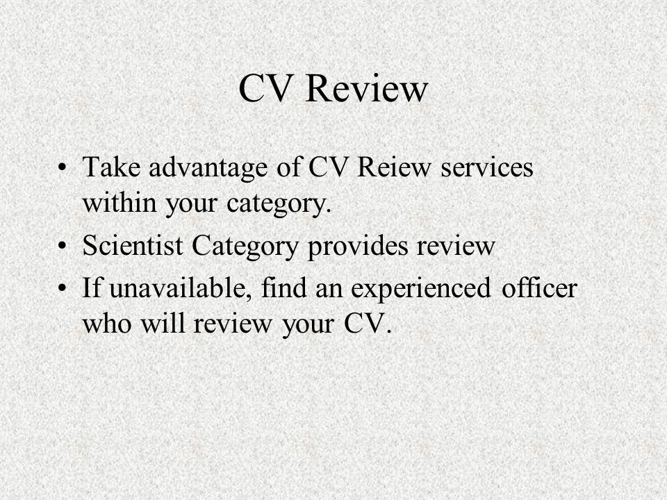 CV Review Take advantage of CV Reiew services within your category.