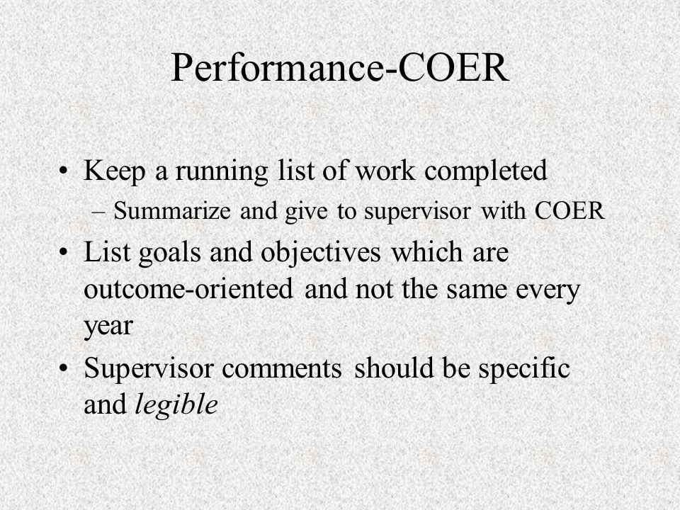 COER COER ratings of all E are regarded with suspicion if not supported by good comments and awards.
